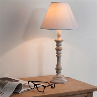 Lampe de chevet tissu blanc H 45 cm LORINE