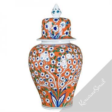 Jarre Vichné en porcelaine orientale orange