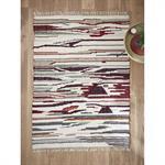 Tapis rayé laine/coton/viscose - grand multicolore