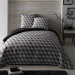 Parure de lit 240 x 260 cm en coton blanche/grise CUBIC