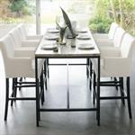 Table de salle à manger indus en bois massif et métal