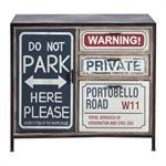 Buffet indus imprimé en métal et bois noir L 90 cm Park