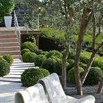 Terrasse blanche et bois double niveaux