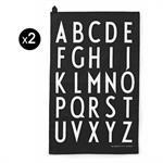 Torchon Arne Jacobsen / Lot de 2 - Design Letters Noir en Tissu