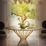 Table à pied central en métal doré pour salle à manger en marbre
