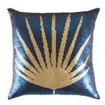 Coussin à sequins réversibles bleus et dorés imprimé 45x45