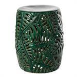 Tabouret feuillage ajouré en céramique verte
