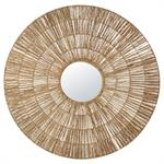 Miroir rond en fibre végétale tressée D109