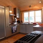 Cuisine laquée grises dans un environnement en bois