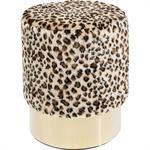 Tabouret léopard et acier doré D35