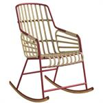 Rocking chair Raphia - Casamania bordeaux en métal
