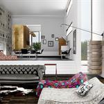Pièce à vivre mélangeant les styles pour un look inimitable - Vue salon