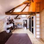 Chambre sous les combles avec échelle menant à une petite mezzanine