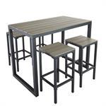Table de jardin haute avec 4 tabourets L128 Escale