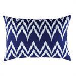 Coussin d'extérieur bleu motifs graphiques blancs 40x60