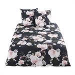 Parure de lit en coton noir motif floral 220x240