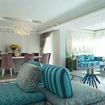 Grand salon salle à manger bleu