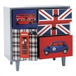 Cabinet enfant en bois gris L 80 cm London