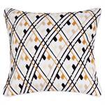 Housse de coussin en coton écru motifs graphiques 40x40
