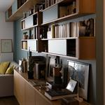 Bibliothèque filant de l'entrée au salon