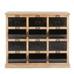 Cabinet vintage 12 casiers en manguier et métal noir Firmin