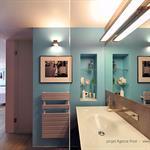 Grande Salle de bain de suite parentale avec un mur turquoise