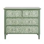 Commode 4 tiroirs vert kaki motif floral Anoushka