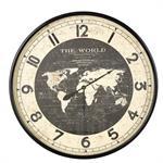 Horloge carte du monde en métal noir D96