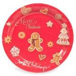 12 assiettes en papier imprimé biscuits de Noël