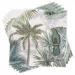 20 serviettes en papier imprimé tropical 33x33 GREEN PERROK
