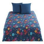 Parure de lit en coton bleu pétrole motif floral multicolore 240x260