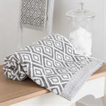 Serviette de bain en coton blanc motifs gris 70x140cm GRAPHIC WILD