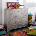 Cabinet de rangement indien en bois argenté L 100 cm Jaïpur
