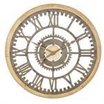 Horloge rouages en sapin et métal effet vieilli D100