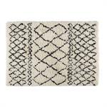 Tapis berbère en laine et coton écru/noir 140x200cm MOUNIA