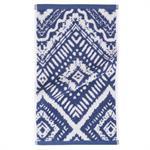 Serviette en coton bleu motifs graphiques 30x50