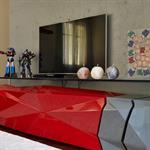 Meuble tv rouge laqué