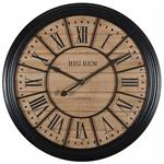 Horloge en sapin et métal noir D100