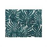 Tapis tufté écru imprimé feuillages verts 140x200