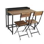 Table de jardin et 2 chaises en acacia massif et métal noir Calathea