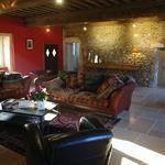 Salon traditionnel bourguignon avec mur en pierres apparentes et plafond à la française