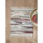 Tapis rayé laine/coton/viscose - petit multicolore