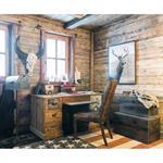 Chaise en cuir et bois marron Vintage