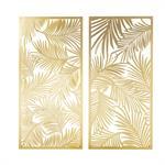 2 déco murales en métal découpé doré 130x62