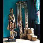 Statue Bouddha debout en résine dorée H 142 cm