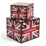 2 malles imprimées en bois L 28 cm et L 39 cm LONDON