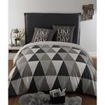 Parure de lit 240 x 260 cm en coton grise TRIANGLE