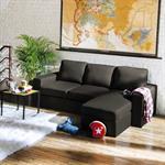 Canapé d'angle modulable 3 places gris Jules