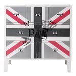 Cabinet commode drapeau en bois blanche L 80 cm Queen