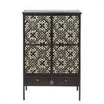 Cabinet de rangement 2 portes 2 tiroirs noir motifs ivoire Manolo